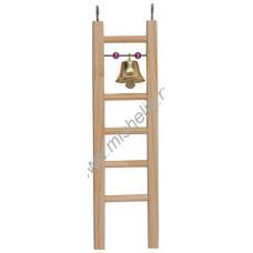 8578 Дарэлл Игрушка для птиц Лесенка деревянная малая с бусами и колокольиком