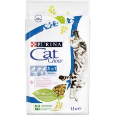 Кэт Чау Корм для кошек 3 в 1 тройная защита с птицей, 1,5 кг