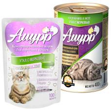 Амурр Корм консерв. для кошек Утка с морковкой в желе, ж/б 400 г
