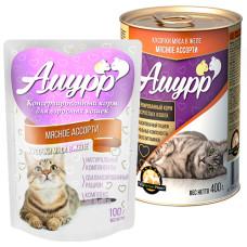 Амурр Корм консерв. для кошек Мясное ассорти в желе, ж/б 400 г
