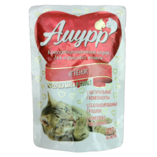 Амурр Корм консерв. для кошек Ягненок в соусе, 100 г