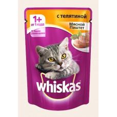 Вискас Корм для кошек мясной паштет с телятиной, пауч 85 г