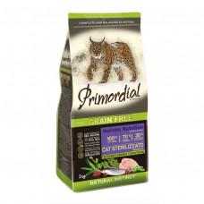 PRIMORDIAL Корм сухой беззерновой для стерилизованных кошек с индейкой и сельдью, 400 г