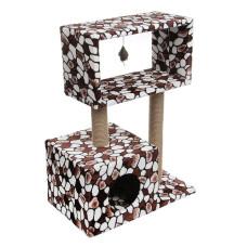 КД-14 PerseiLine Когтеточка Столбик Куб с мезонином с игрушкой, джут, 60*35*85 см