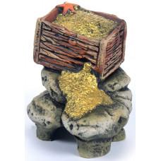 К-16 ГротАква Грот Сундук с золотом,  22*15,5*15 см