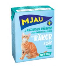 Mjau Корм для кошек Мясные кусочки с креветками в соусе, в упаковке Tetra Recart, 380 г