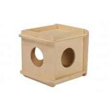 Игрушка для грызунов Кубик малый деревянный 10*10*h11,5 см.