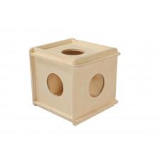 Игрушка для грызунов кубик большой деревянный 12*12*h13,5 см.