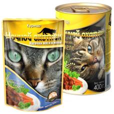 Ночной охотник Корм для кошек Мясные кусочки в желе Курица, 400 г