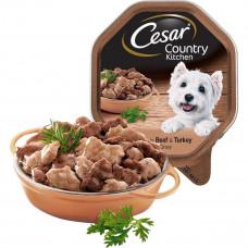 Цезарь Фермерская кухня Корм для взрослых собак всех пород с говядиной и индейкой в соусе, 150 г