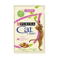 Кэт Чау Корм для взрослых кошек с ягненком и зеленой фасолью, в желе, пауч 85 г