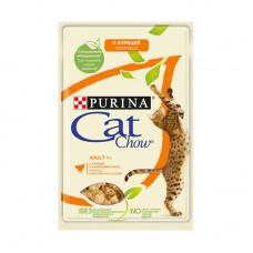 Кэт Чау Корм для взрослых кошек с курицей и кабачками, в желе, пауч 85 г