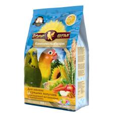 Верные друзья Стандарт Комплексный корм для мелких и средних попугаев с витаминами, 500 г