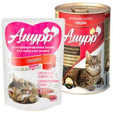 Амурр Корм консерв. для кошек Говядина в соусе, ж/б 400 г