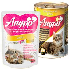 Амурр Корм консерв. для кошек Курица в соусе, ж/б 400 г