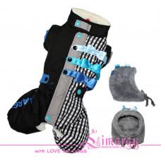 4551 Lim010623-3 Лимарджи Комбинезон зимний + шапка, Sk Bow, черно-синий, мальчик, размер XS