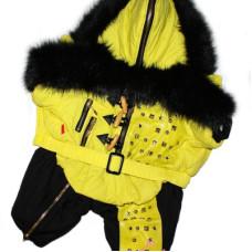 4591 Lim010624 Лимарджи Комбинезон зимний Fur Zip, желый, мальчик, размер XS