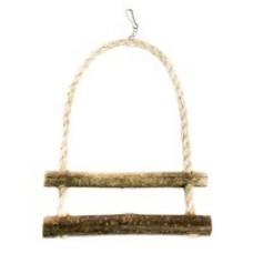 535 Игрушка для птиц Лесенка две ступеньки, сизаль+ орешник, 20*15 см