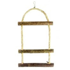5352 Игрушка для птиц Лесенка деревянная Три ступеньки для средних и мелких видов птиц, 30*15 см