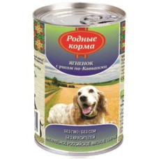 Родные корма Корм конс. для собак Ягненок с рисом по-кавказски 410 г