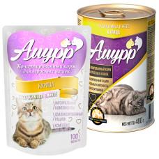 Амурр Корм консерв. для кошек Курица в желе, ж/б 400 г