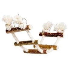 660 Игрушка Канатная лесенка для птиц и грызунов с орешником, 35*10 см