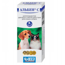 Альбен С- глистогон против круглых и ленточных гельминтов для собак и кошек 1 табл/5 кг, 3 табл