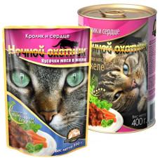 Ночной охотник Корм для кошек Мясные кусочки в желе Кролик и сердце, 400 г