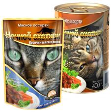 Ночной охотник Корм для кошек Мясные кусочки в желе Мясное ассорти, 400 г