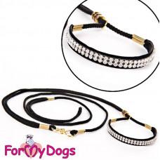 DS02-11-2012 BL FoMyDogs Ринговка черная с белыми кристаллами, 3 мм*1,2 м