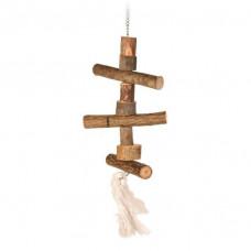 5870 TRIXIE Игрушка для попугая, деревянная, на цепочке, 40 см.