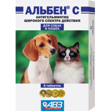 Альбен С - глистогон против круглых и ленточных гельминтов для собак и кошек 1 табл./5 кг, 6 табл.