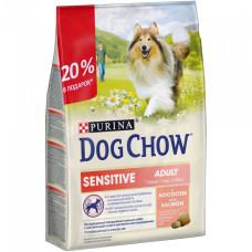 Дог Чау Корм сухой для взрослых собак с чувствительным пищеварением с лососем 2 кг + 500 г в подарок