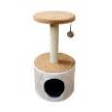 Когтеточка KD002 Домик круглый, столбик и полка, 33*36*62 см